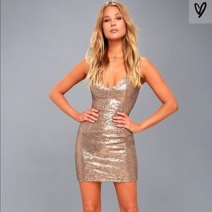 NWOT Lulus Champagne Sequin Mini dress
